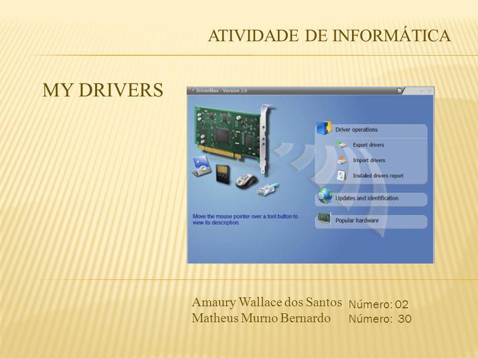 ATIVIDADE DE INFORMÁTICA MY DRIVERS Amaury Wallace dos Santos Matheus Murno Bernardo Número: 02 Número: 30