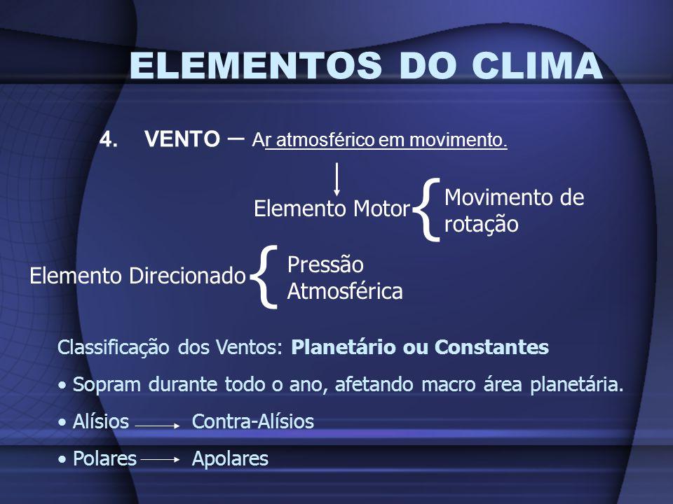 ELEMENTOS DO CLIMA 4.VENTO – Ar atmosférico em movimento. Elemento Motor { Movimento de rotação Elemento Direcionado { Pressão Atmosférica Classificaç