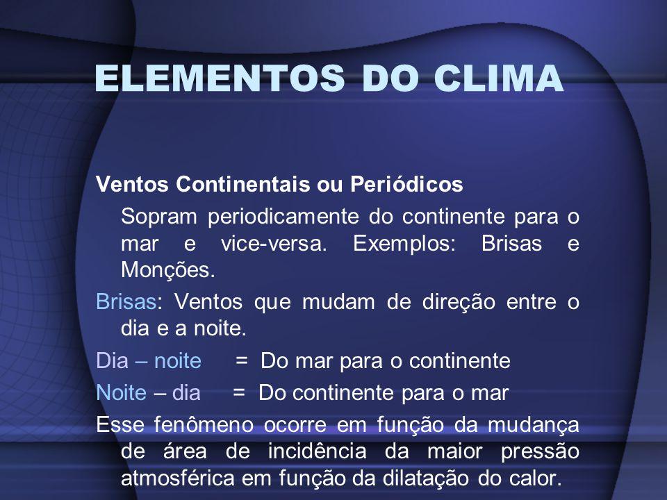 ELEMENTOS DO CLIMA Ventos Continentais ou Periódicos Sopram periodicamente do continente para o mar e vice-versa. Exemplos: Brisas e Monções. Brisas: