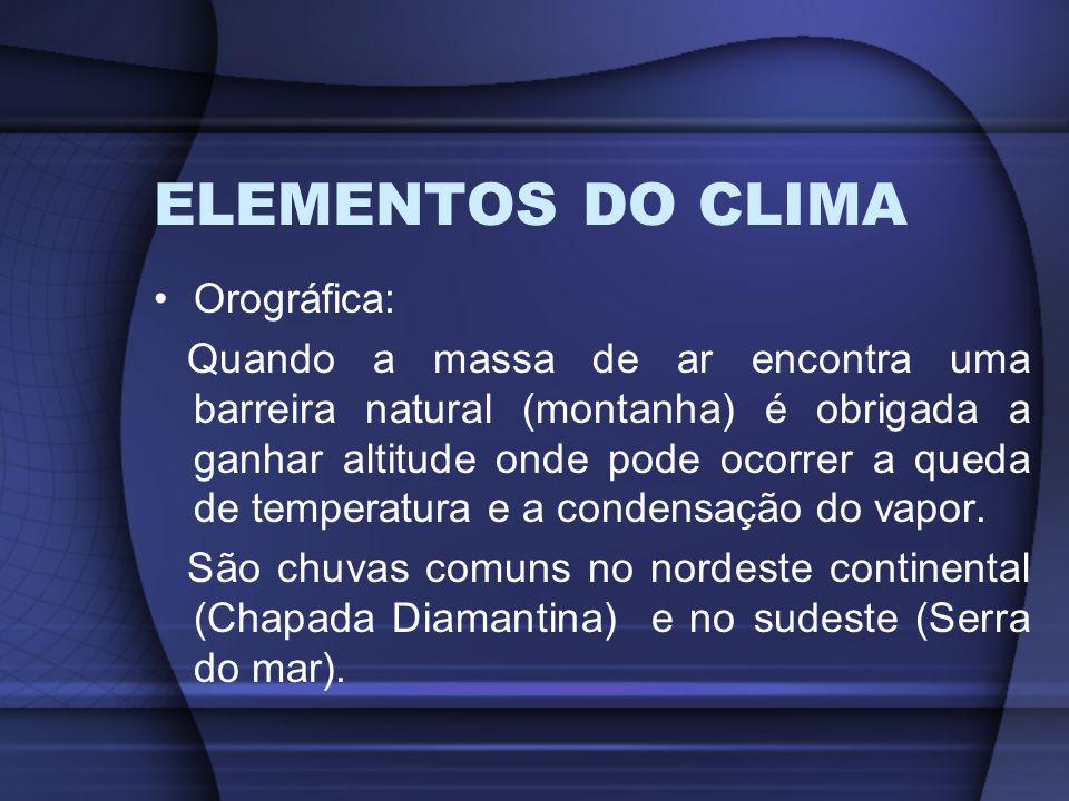 ELEMENTOS DO CLIMA Orográfica: Quando a massa de ar encontra uma barreira natural (montanha) é obrigada a ganhar altitude onde pode ocorrer a queda de