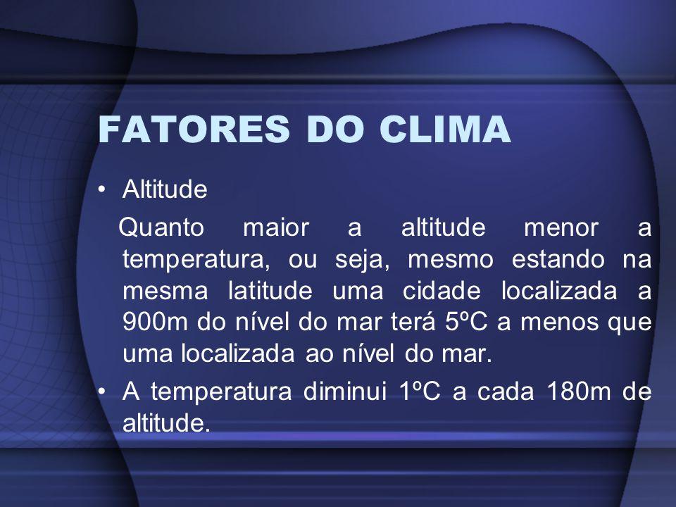 FATORES DO CLIMA Altitude Quanto maior a altitude menor a temperatura, ou seja, mesmo estando na mesma latitude uma cidade localizada a 900m do nível