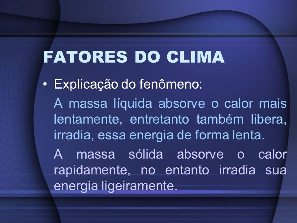 FATORES DO CLIMA Explicação do fenômeno: A massa líquida absorve o calor mais lentamente, entretanto também libera, irradia, essa energia de forma len