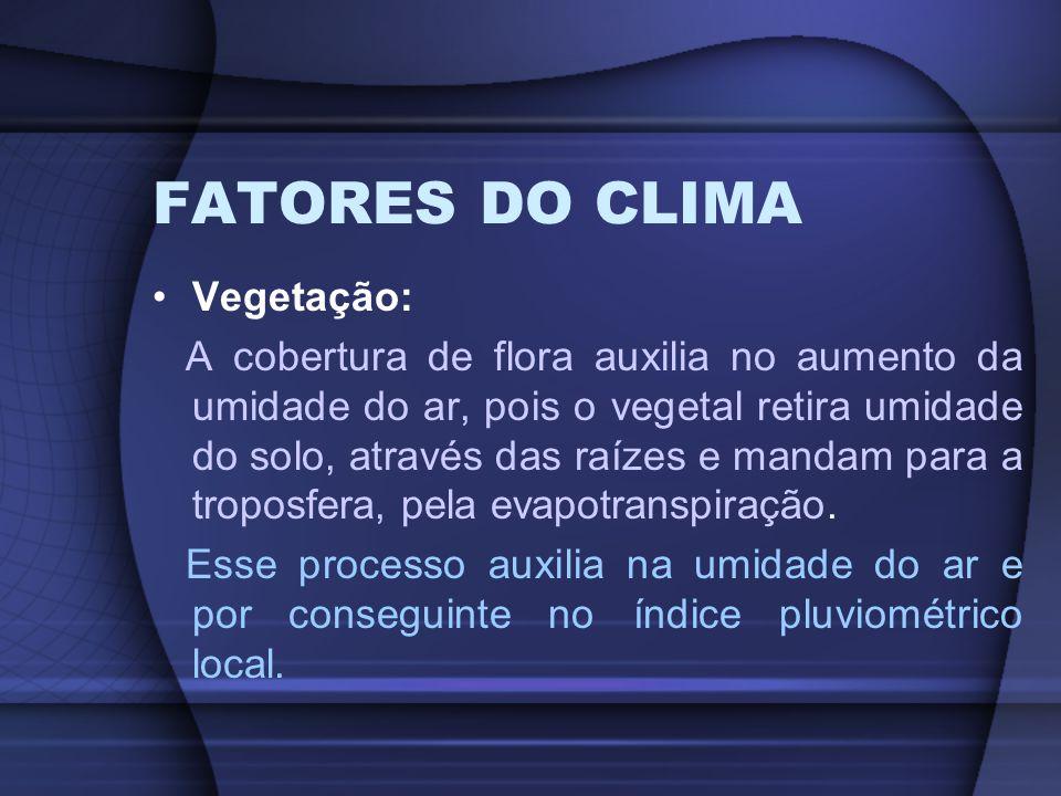 FATORES DO CLIMA Vegetação: A cobertura de flora auxilia no aumento da umidade do ar, pois o vegetal retira umidade do solo, através das raízes e mand