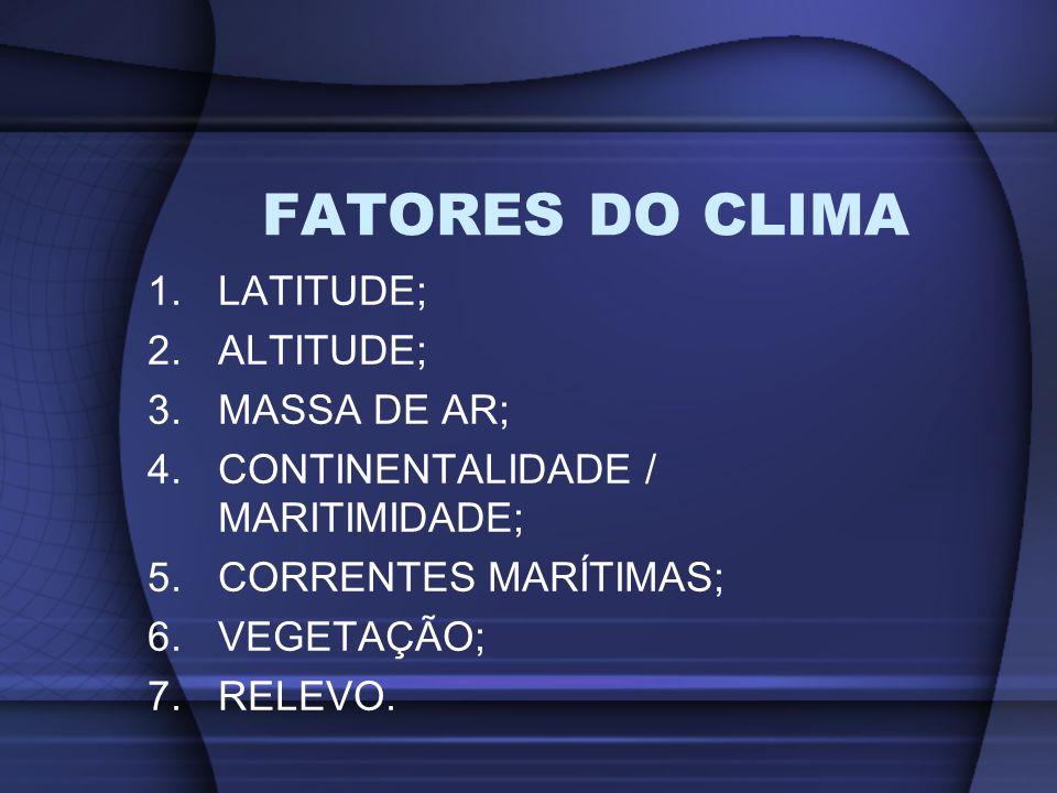 1.LATITUDE; 2.ALTITUDE; 3.MASSA DE AR; 4.CONTINENTALIDADE / MARITIMIDADE; 5.CORRENTES MARÍTIMAS; 6.VEGETAÇÃO; 7.RELEVO. FATORES DO CLIMA