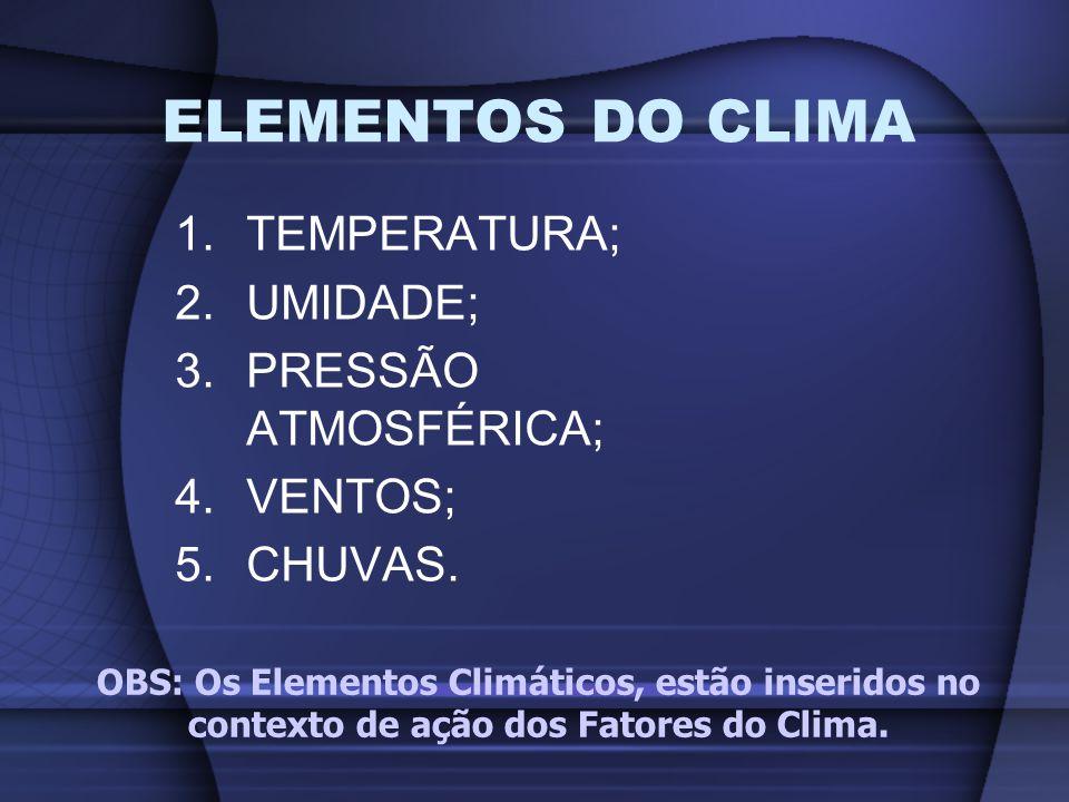 1.TEMPERATURA; 2.UMIDADE; 3.PRESSÃO ATMOSFÉRICA; 4.VENTOS; 5.CHUVAS. ELEMENTOS DO CLIMA OBS: Os Elementos Climáticos, estão inseridos no contexto de a