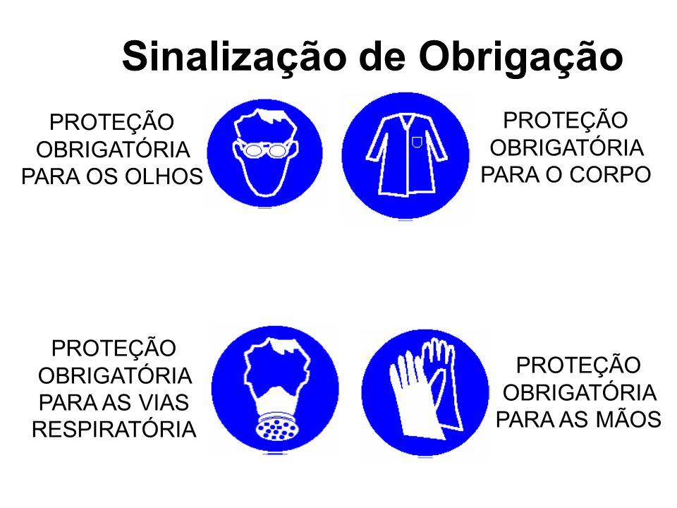 Sinalização de Obrigação PROTEÇÃO OBRIGATÓRIA PARA OS OLHOS PROTEÇÃO OBRIGATÓRIA PARA AS VIAS RESPIRATÓRIA PROTEÇÃO OBRIGATÓRIA PARA AS MÃOS PROTEÇÃO