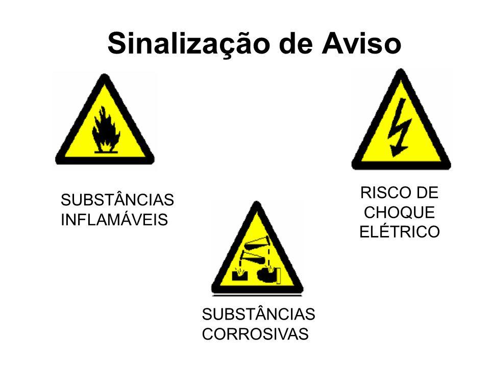 Sinalização de Aviso SUBSTÂNCIAS CORROSIVAS SUBSTÂNCIAS INFLAMÁVEIS RISCO DE CHOQUE ELÉTRICO