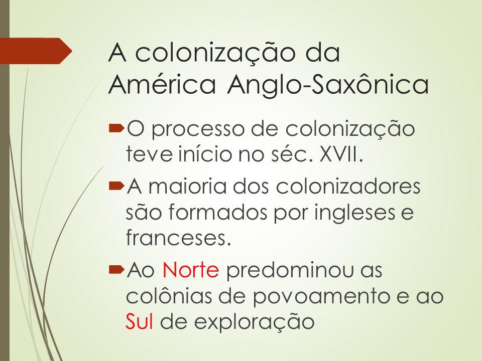 A colonização da América Anglo-Saxônica O processo de colonização teve início no séc. XVII. A maioria dos colonizadores são formados por ingleses e fr