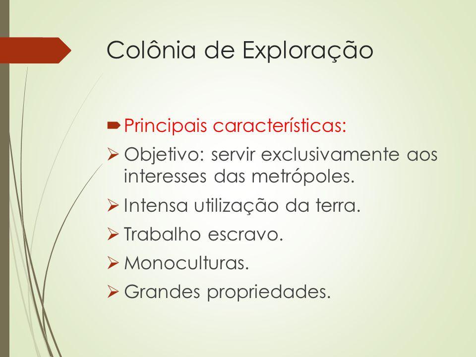 Colônia de Exploração Principais características: Objetivo: servir exclusivamente aos interesses das metrópoles. Intensa utilização da terra. Trabalho