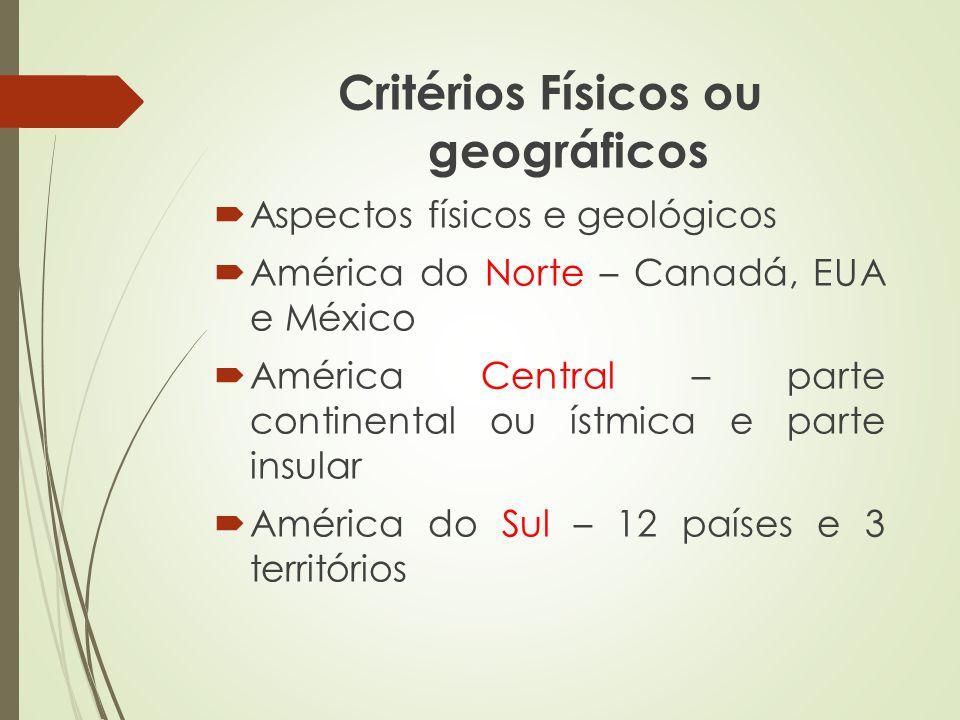 Critérios Físicos ou geográficos Aspectos físicos e geológicos América do Norte – Canadá, EUA e México América Central – parte continental ou ístmica