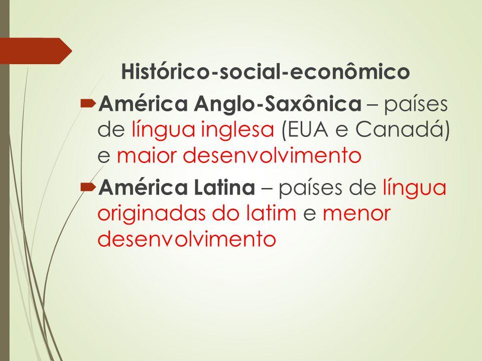 Histórico-social-econômico América Anglo-Saxônica – países de língua inglesa (EUA e Canadá) e maior desenvolvimento América Latina – países de língua
