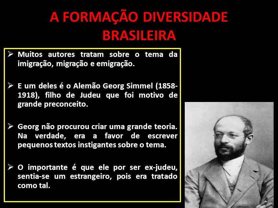 A FORMAÇÃO DIVERSIDADE BRASILEIRA Muitos autores tratam sobre o tema da imigração, migração e emigração. E um deles é o Alemão Georg Simmel (1858- 191