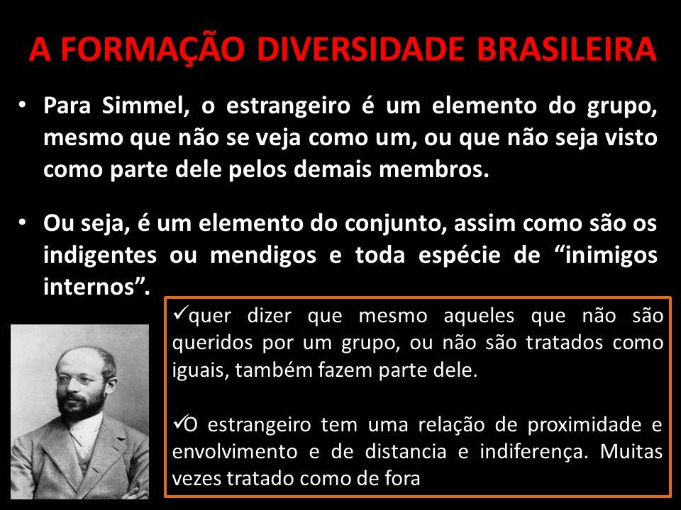 Para Simmel, o estrangeiro é um elemento do grupo, mesmo que não se veja como um, ou que não seja visto como parte dele pelos demais membros. Ou seja,