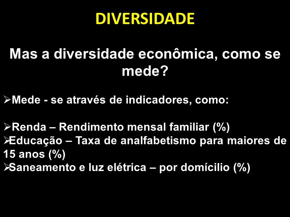 DIVERSIDADE Mas a diversidade econômica, como se mede? Mede - se através de indicadores, como: Renda – Rendimento mensal familiar (%) Educação – Taxa