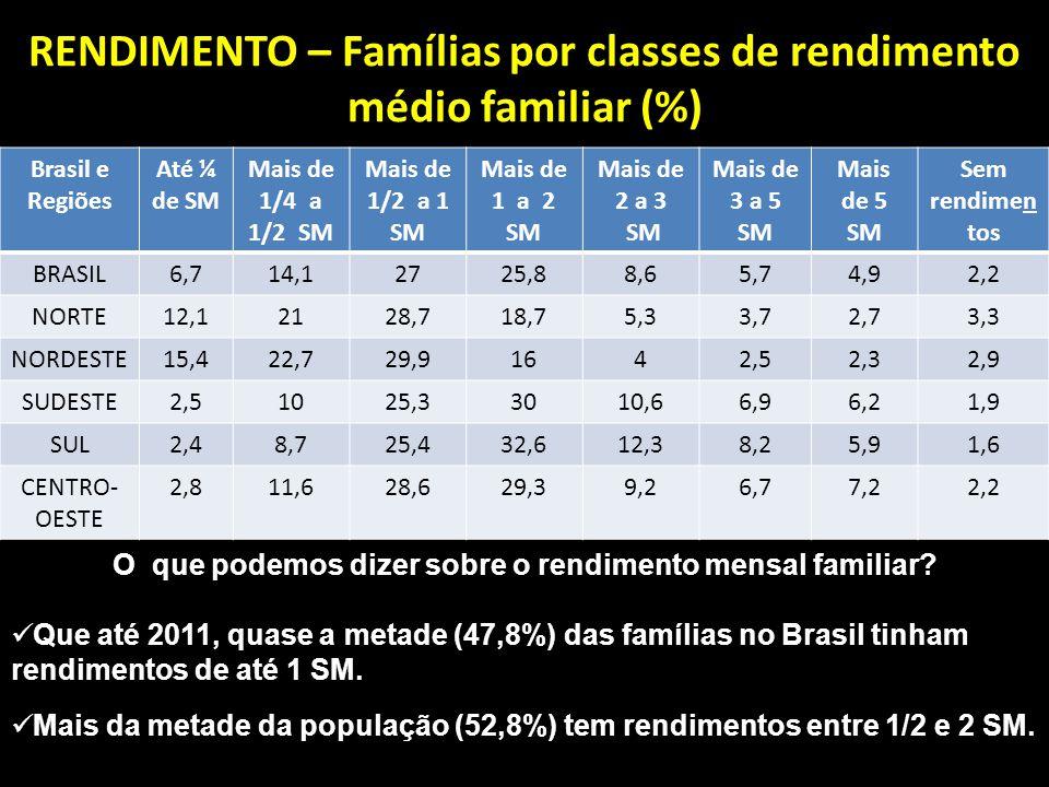 RENDIMENTO – Famílias por classes de rendimento médio familiar (%) Brasil e Regiões Até ¼ de SM Mais de 1/4 a 1/2 SM Mais de 1/2 a 1 SM Mais de 1 a 2 SM Mais de 2 a 3 SM Mais de 3 a 5 SM Mais de 5 SM Sem rendimen tos BRASIL6,714,12725,88,65,74,92,2 NORTE12,12128,718,75,33,72,73,3 NORDESTE15,422,729,91642,52,32,9 SUDESTE2,51025,33010,66,96,21,9 SUL2,48,725,432,612,38,25,91,6 CENTRO- OESTE 2,811,628,629,39,26,77,22,2 O que podemos dizer sobre o rendimento mensal familiar.