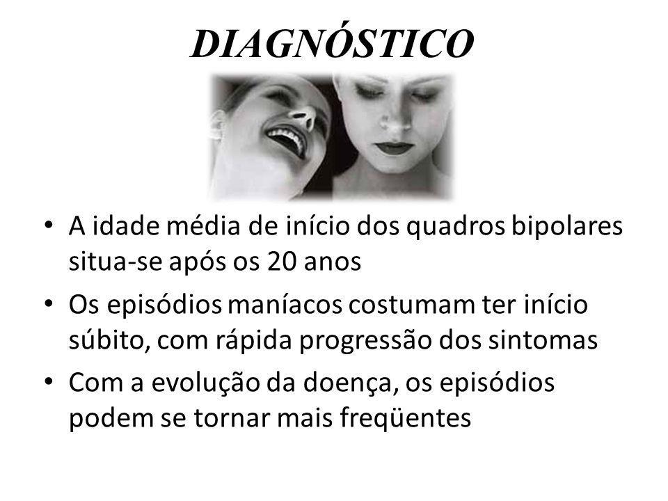 DIAGNÓSTICO A idade média de início dos quadros bipolares situa-se após os 20 anos Os episódios maníacos costumam ter início súbito, com rápida progre