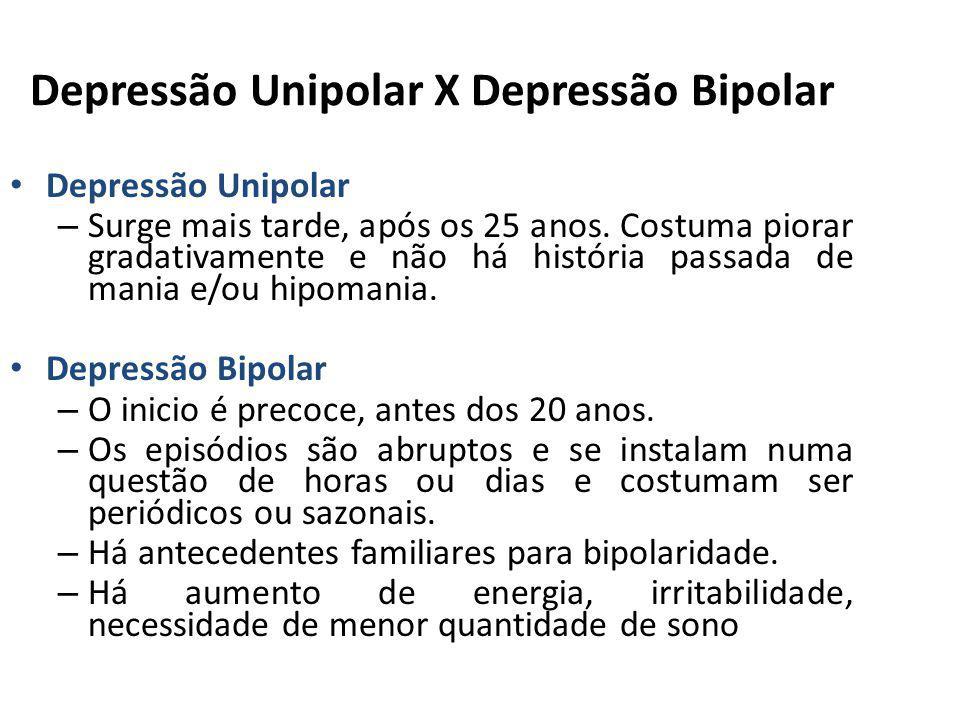 Depressão Unipolar X Depressão Bipolar Depressão Unipolar – Surge mais tarde, após os 25 anos. Costuma piorar gradativamente e não há história passada