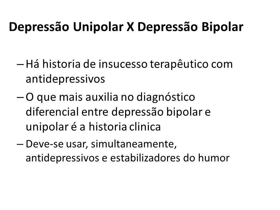Depressão Unipolar X Depressão Bipolar – Há historia de insucesso terapêutico com antidepressivos – O que mais auxilia no diagnóstico diferencial entr