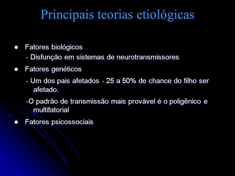 Principais teorias etiológicas Fatores biológicos Fatores biológicos - Disfunção em sistemas de neurotransmissores Fatores genéticos Fatores genéticos