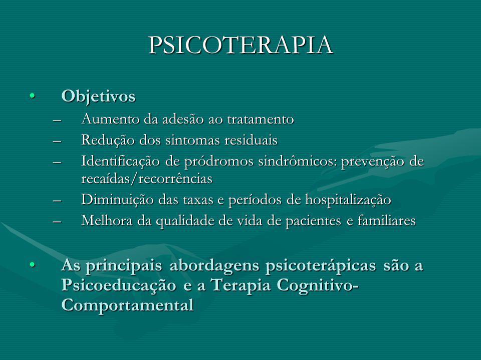 PSICOTERAPIA ObjetivosObjetivos –Aumento da adesão ao tratamento –Redução dos sintomas residuais –Identificação de pródromos sindrômicos: prevenção de