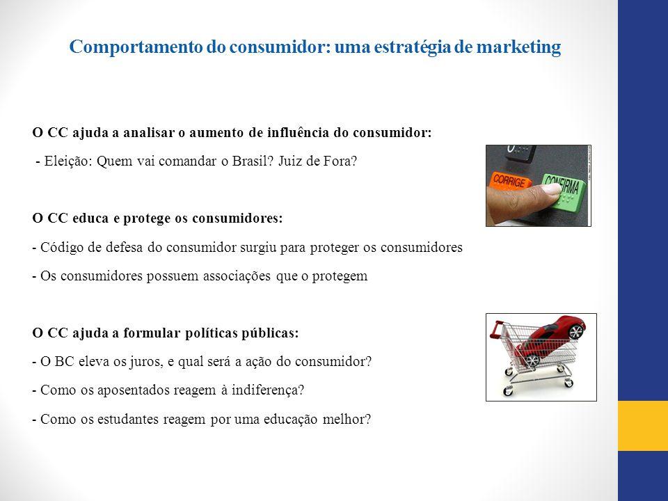 O CC ajuda a analisar o aumento de influência do consumidor: - Eleição: Quem vai comandar o Brasil? Juiz de Fora? O CC educa e protege os consumidores