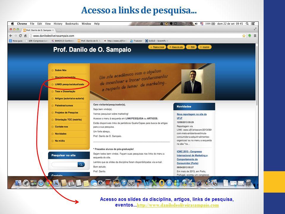 Acesso a links de pesquisa... Acesso aos slides da disciplina, artigos, links de pesquisa, eventos... http://www.danilodeoliveirasampaio.com http://ww