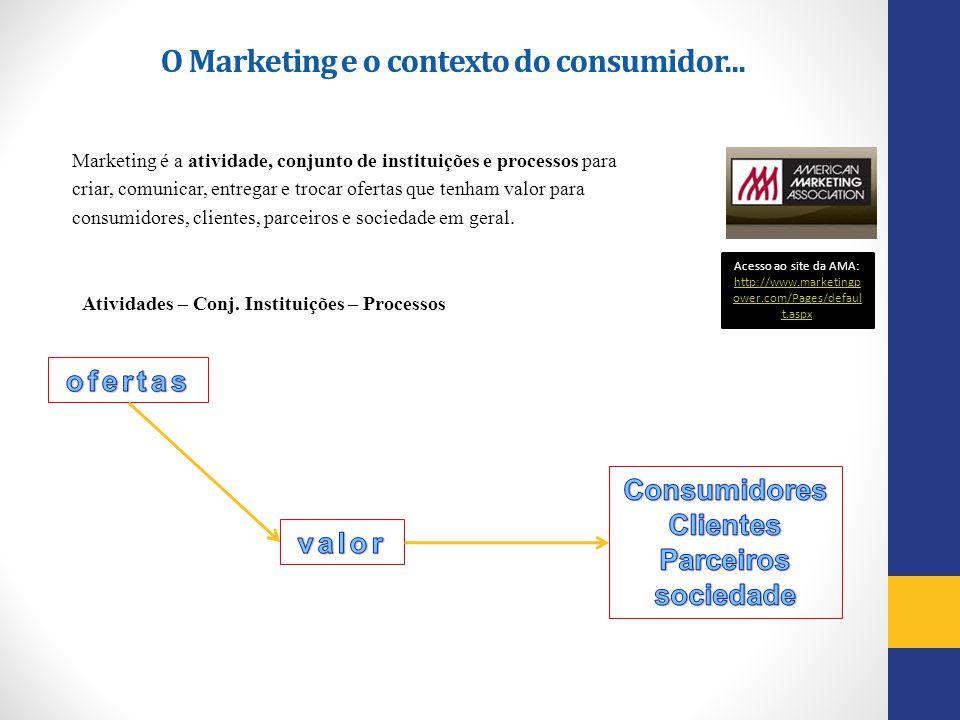 Marketing é a atividade, conjunto de instituições e processos para criar, comunicar, entregar e trocar ofertas que tenham valor para consumidores, cli