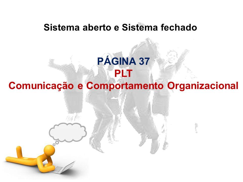 Sistema aberto e Sistema fechado PÁGINA 37 PLT Comunicação e Comportamento Organizacional