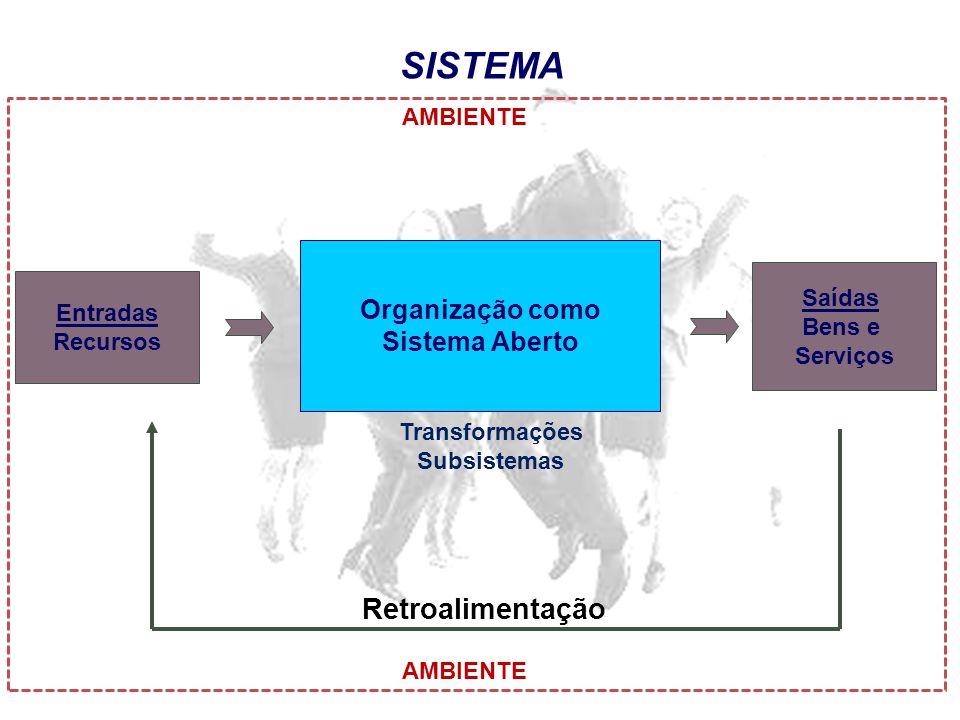 SISTEMA Entradas Recursos Saídas Bens e Serviços Retroalimentação Organização como Sistema Aberto AMBIENTE Transformações Subsistemas