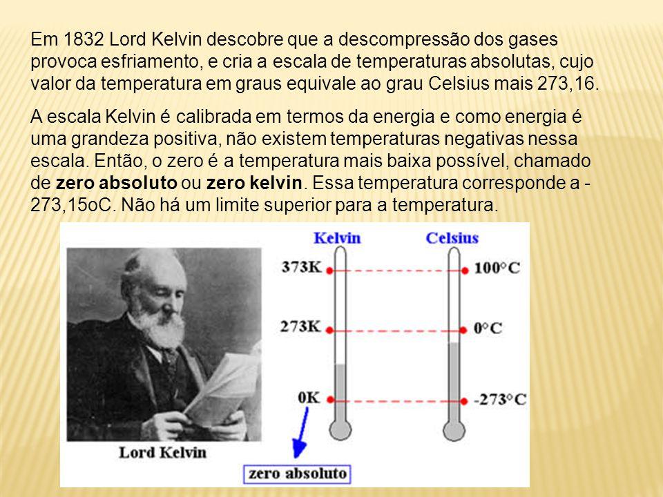 Escala Kelvin Sabe-se que não há, teoricamente, um limite superior para a temperatura que um corpo pode alcançar. Observa-se, entretanto, que existe u