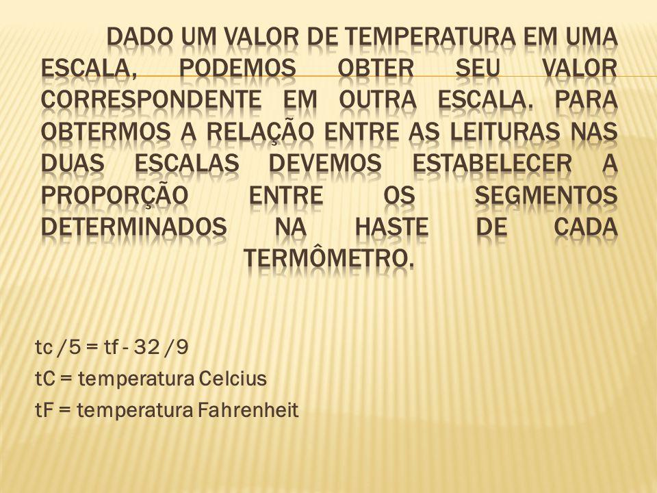 Relação entre as escalas Celsius e Fahrenheit Dado um valor de temperatura em uma escala, podemos obter seu valor correspondente em outra escala. Para