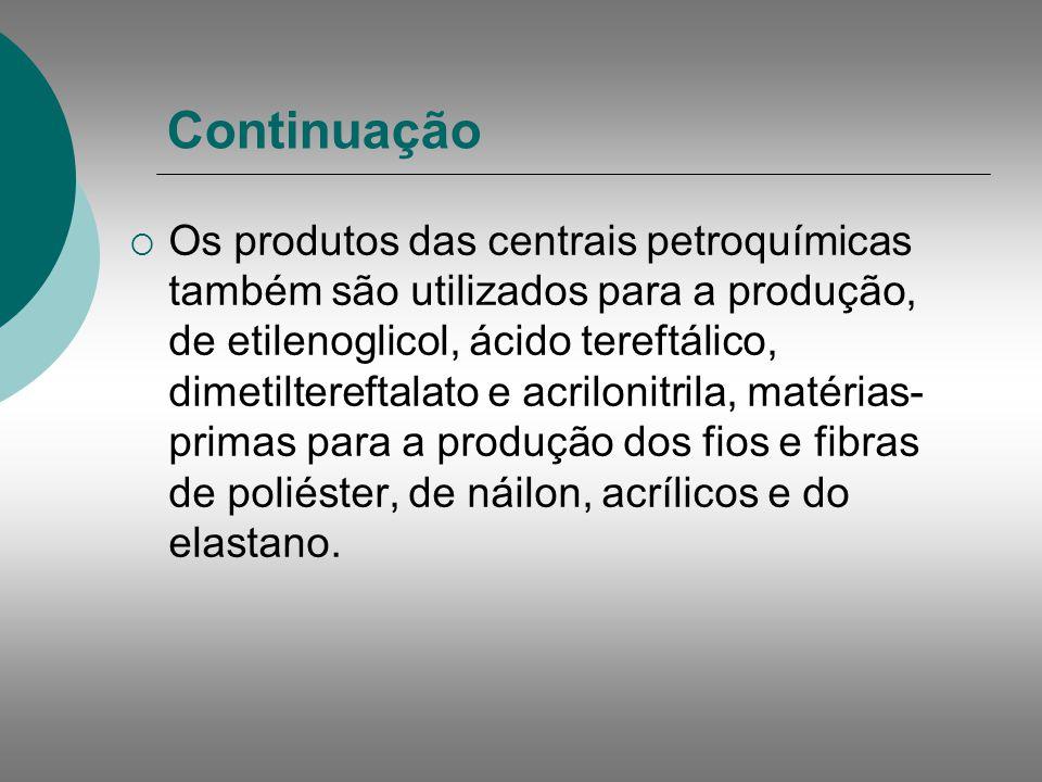 Continuação Os produtos das centrais petroquímicas também são utilizados para a produção, de etilenoglicol, ácido tereftálico, dimetiltereftalato e acrilonitrila, matérias- primas para a produção dos fios e fibras de poliéster, de náilon, acrílicos e do elastano.