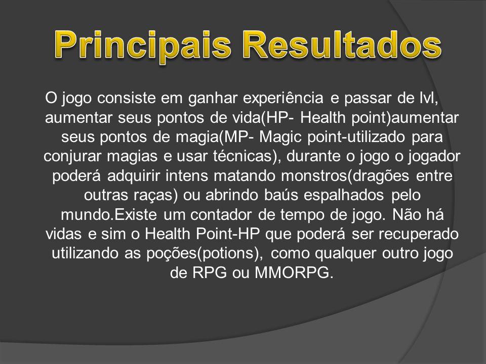O jogo consiste em ganhar experiência e passar de lvl, aumentar seus pontos de vida(HP- Health point)aumentar seus pontos de magia(MP- Magic point-uti