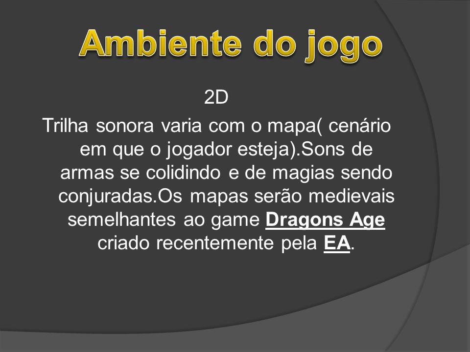 2D Trilha sonora varia com o mapa( cenário em que o jogador esteja).Sons de armas se colidindo e de magias sendo conjuradas.Os mapas serão medievais s