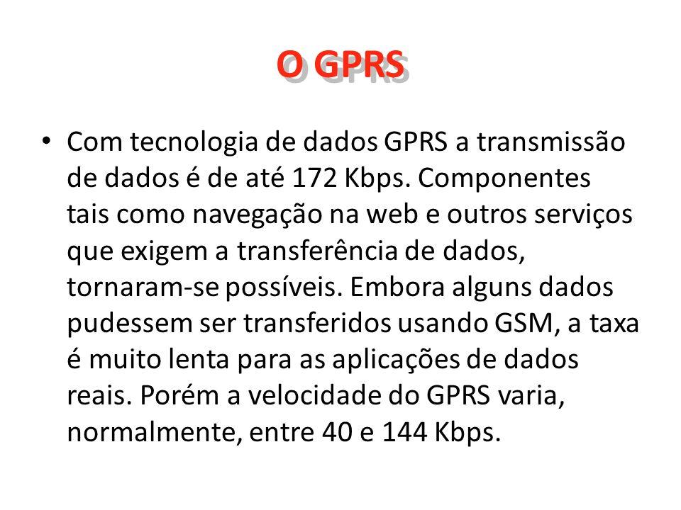 O GPRS Com tecnologia de dados GPRS a transmissão de dados é de até 172 Kbps. Componentes tais como navegação na web e outros serviços que exigem a tr