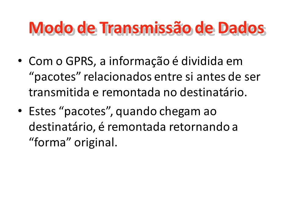 Nova Característica O GPRS permite novos usos que não permitia a norma GSM, geralmente classificados nas classes de serviços seguintes: Serviços ponto a ponto (PTP), ou seja, a capacidade de se ligar em modo cliente-servidor a uma máquina de uma rede IP; Serviços ponto a multipontos (PTMP), ou seja, a aptidão de enviar um pacote a um grupo de destinatários (Multicast); Serviços de mensagens curtas (SMS);