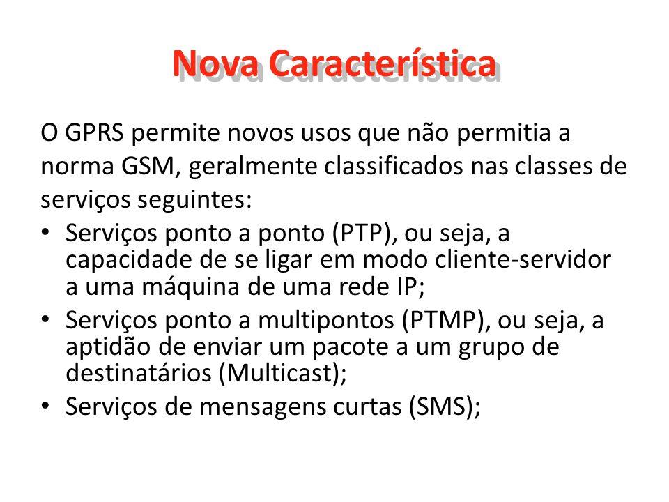 Nova Característica O GPRS permite novos usos que não permitia a norma GSM, geralmente classificados nas classes de serviços seguintes: Serviços ponto