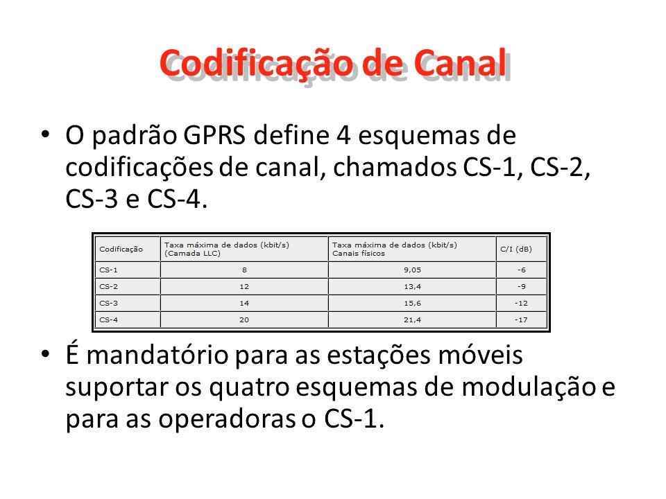 Codificação de Canal O padrão GPRS define 4 esquemas de codificações de canal, chamados CS-1, CS-2, CS-3 e CS-4. É mandatório para as estações móveis