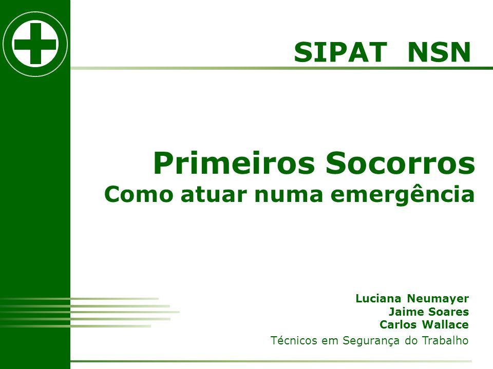 SIPAT NSN Primeiros Socorros Como atuar numa emergência Luciana Neumayer Jaime Soares Carlos Wallace Técnicos em Segurança do Trabalho
