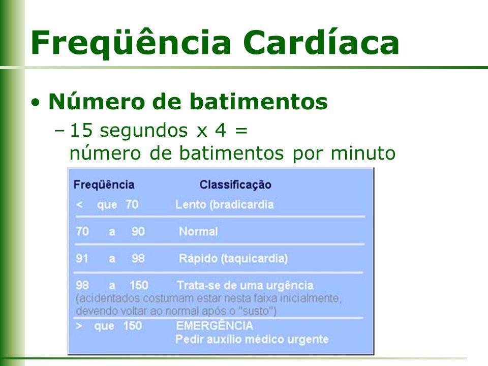 Freqüência Cardíaca Número de batimentos –15 segundos x 4 = número de batimentos por minuto