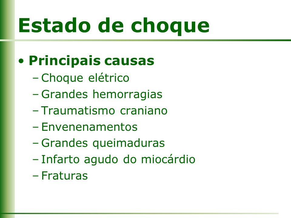 Estado de choque Principais causas –Choque elétrico –Grandes hemorragias –Traumatismo craniano –Envenenamentos –Grandes queimaduras –Infarto agudo do