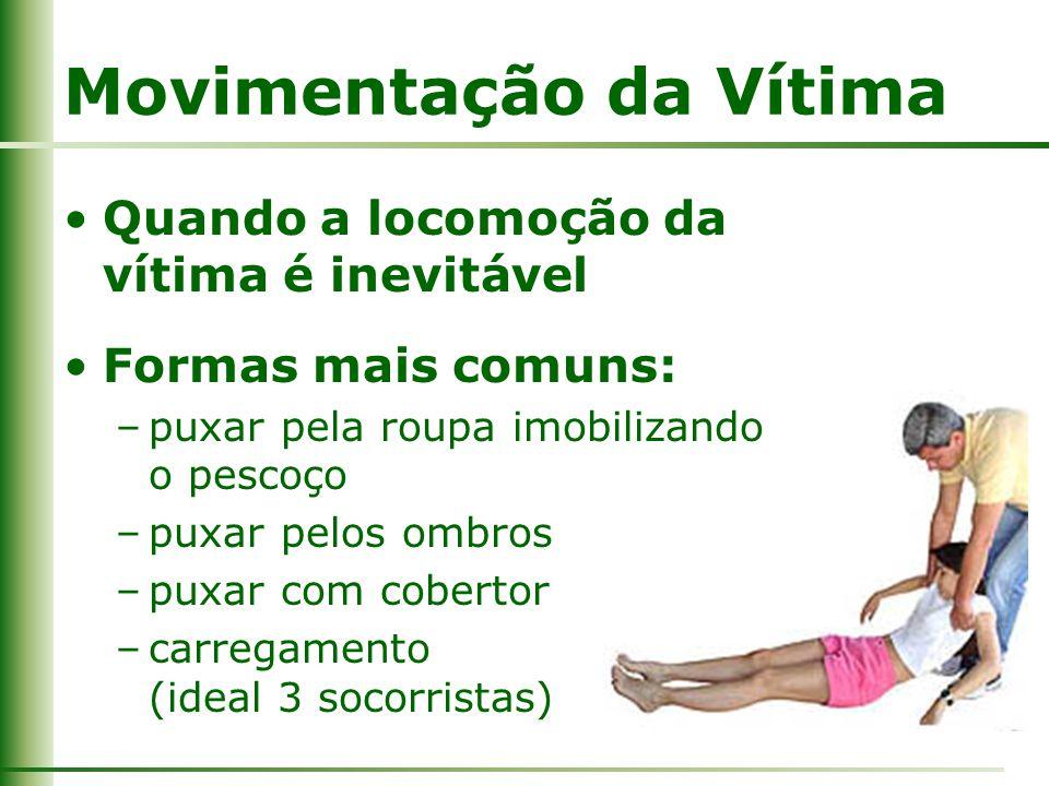 Movimentação da Vítima Quando a locomoção da vítima é inevitável Formas mais comuns: –puxar pela roupa imobilizando o pescoço –puxar pelos ombros –pux