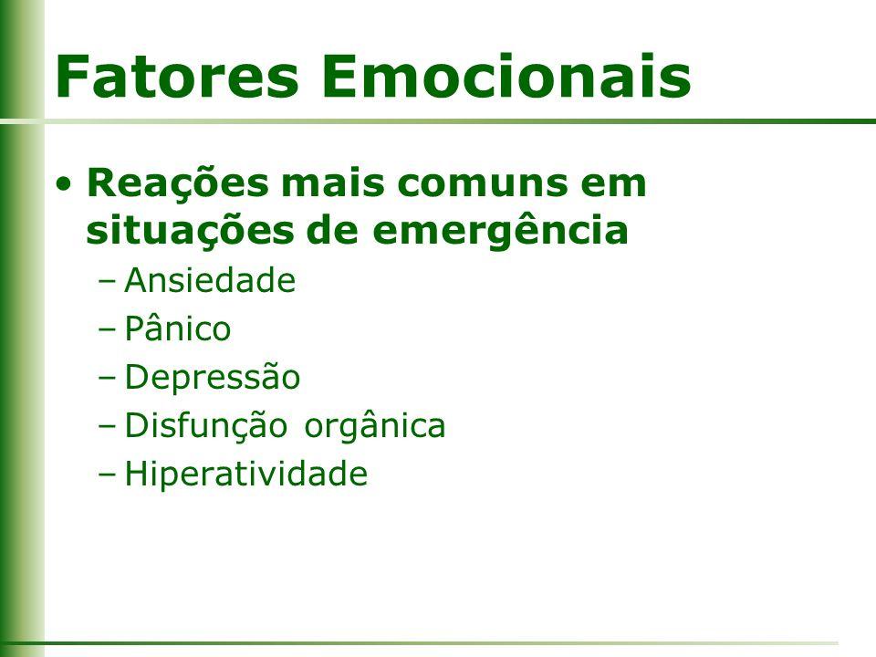 Fatores Emocionais Reações mais comuns em situações de emergência –Ansiedade –Pânico –Depressão –Disfunção orgânica –Hiperatividade
