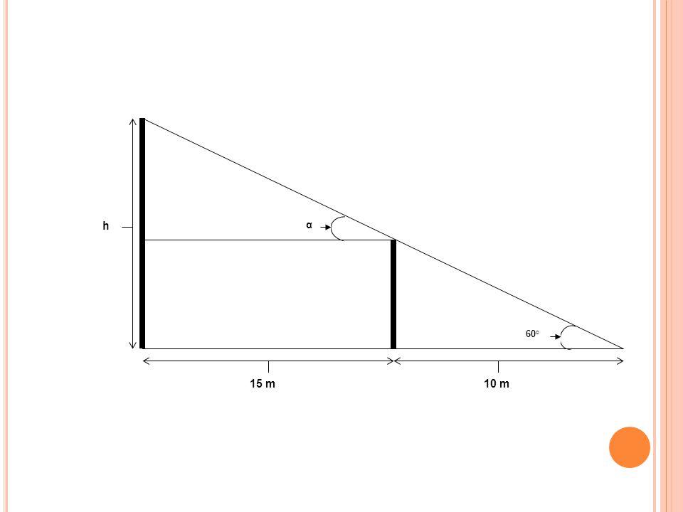 α 60° 15 m10 m h