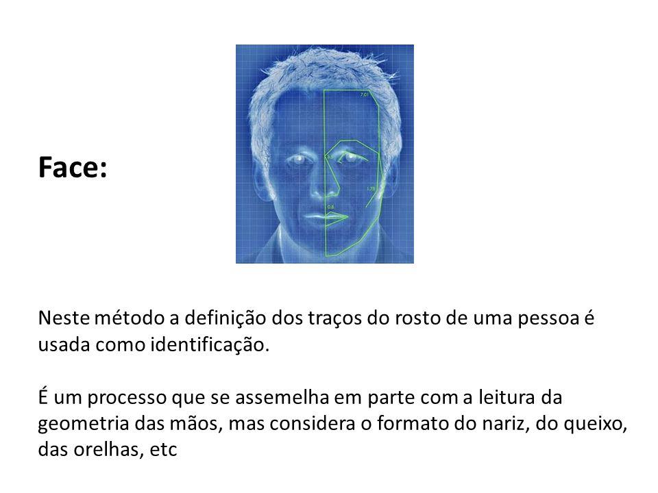 Face: Neste método a definição dos traços do rosto de uma pessoa é usada como identificação. É um processo que se assemelha em parte com a leitura da