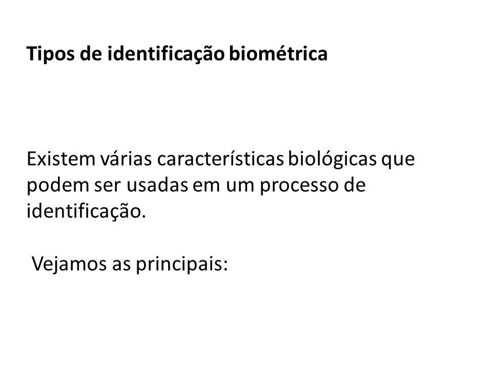 Tipos de identificação biométrica Existem várias características biológicas que podem ser usadas em um processo de identificação. Vejamos as principai