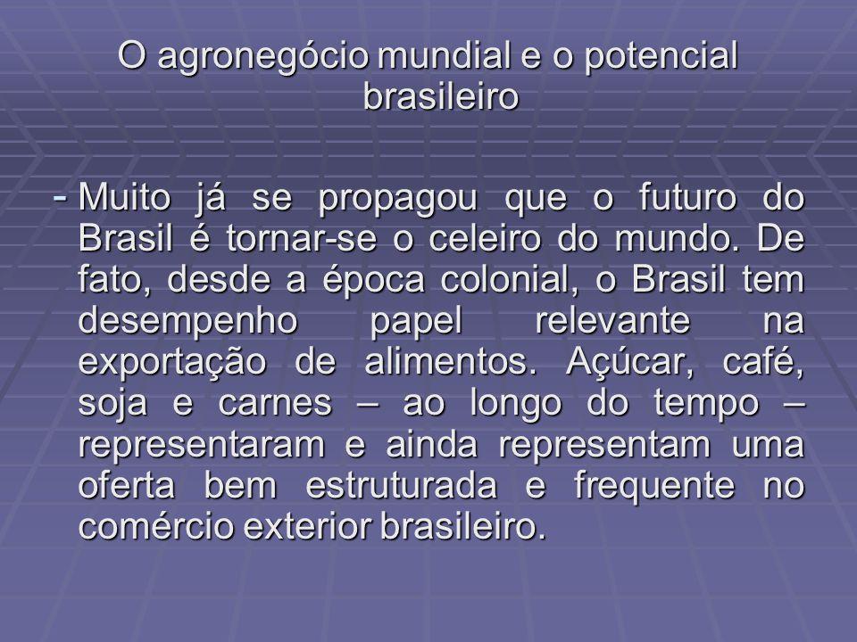 O agronegócio mundial e o potencial brasileiro - Muito já se propagou que o futuro do Brasil é tornar-se o celeiro do mundo.
