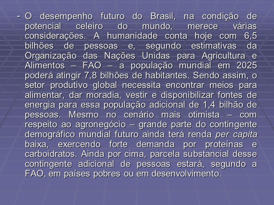 - O desempenho futuro do Brasil, na condição de potencial celeiro do mundo, merece várias considerações. A humanidade conta hoje com 6,5 bilhões de pe
