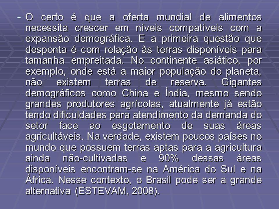 - O certo é que a oferta mundial de alimentos necessita crescer em níveis compatíveis com a expansão demográfica.