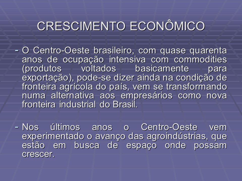 CRESCIMENTO ECONÔMICO - O Centro-Oeste brasileiro, com quase quarenta anos de ocupação intensiva com commodities (produtos voltados basicamente para exportação), pode-se dizer ainda na condição de fronteira agrícola do país, vem se transformando numa alternativa aos empresários como nova fronteira industrial do Brasil.